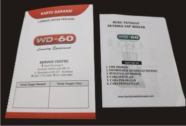 kartu garansi wd-60 & buku panduan wd 60